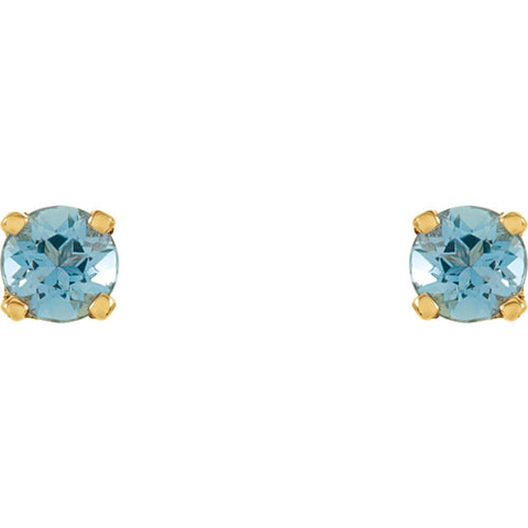 14k Yellow Gold Imitation Blue Zircon Youth Earrings