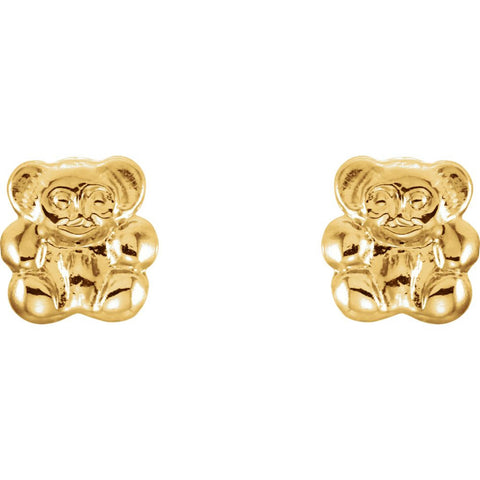 14k Yellow Gold Youth Teddy Bear Earrings