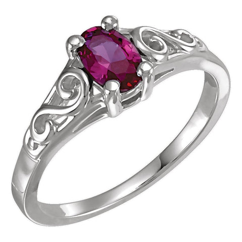 14k White Gold July Imitation Birthstone Ring for Kids, Size 7