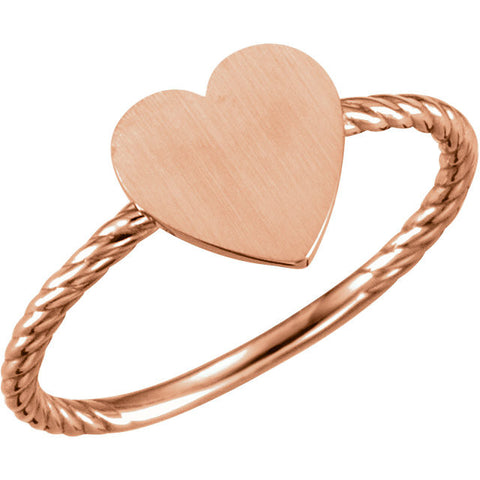 14k Rose Gold Heart Engravable Rope Ring , Size 7