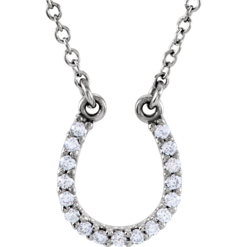 0.08 CTW Diamond & Platinum Horseshoe Necklace (16-Inch)