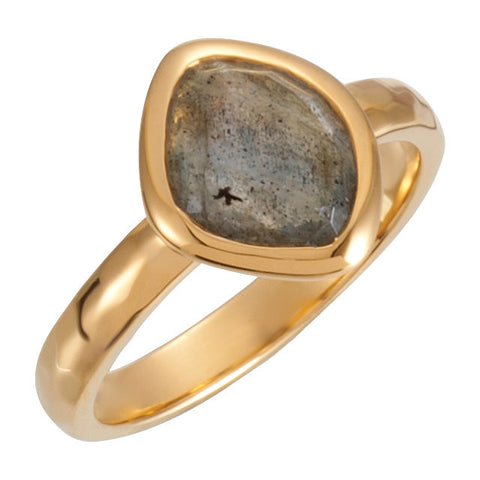 18K Yellow Gold Vermeil 10x8x5mm Labradorite Ring Size 6
