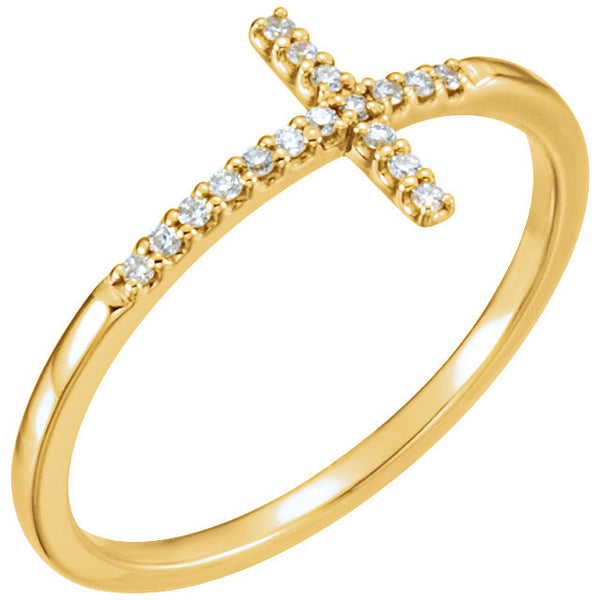 14k Yellow Gold .085 CTW Diamond Sideways Cross Ring, Size 7