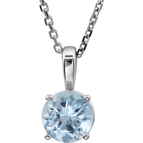 "14k White Gold Imitation Aquamarine ""March"" Birthstone 14-inch Necklace for Kids"