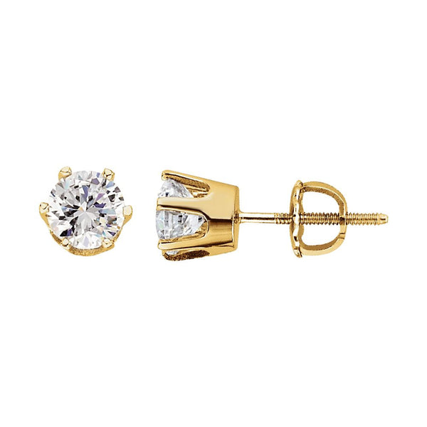 14k Yellow Gold 5.75mm Cubic Zirconia Stud Earrings
