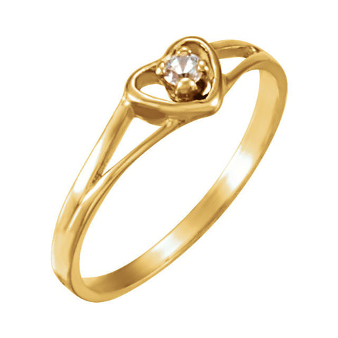 14k Yellow Gold Youth Cubic Zirconia Heart Ring, Size 3