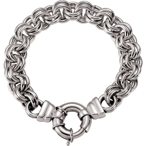 10.5 mm Solid Double Cable Bracelet in Sterling Silver ( 8 Inch )