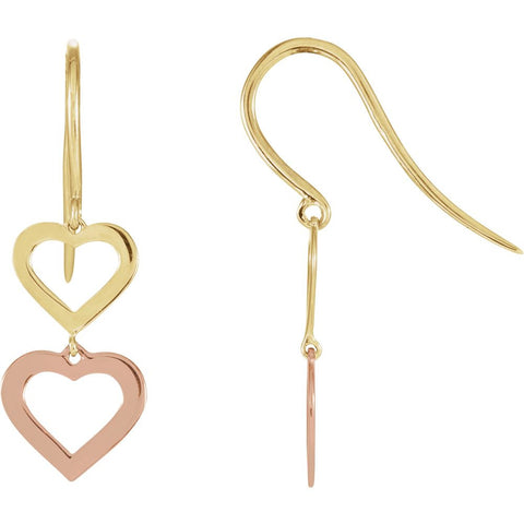 Pair of Heart Design Earrings in 14k Yellow and Rose Gold