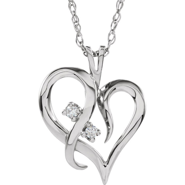 14k White Gold .03 CTW Diamond Heart Necklace