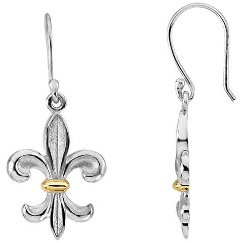 Sterling Silver & 14k Yellow Gold Fleur-de-lis Earrings