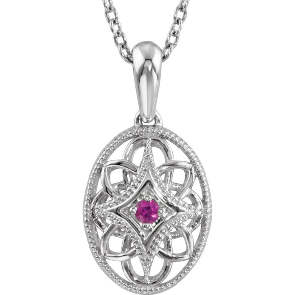 "Sterling Silver Ruby 18"" Necklace"
