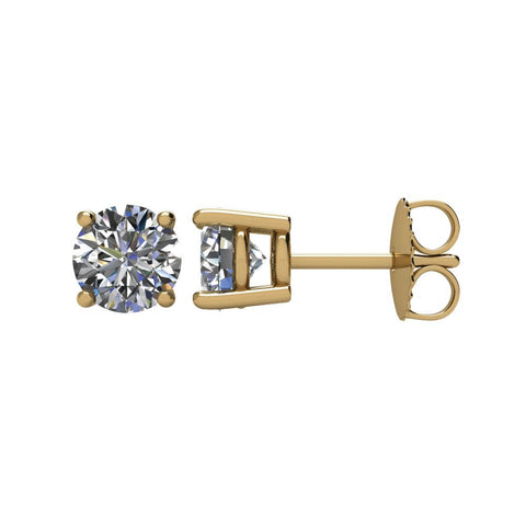 Pair of 1 1/2 CTTW Basket-Style Friction Post Stud Earring in 14k Yellow Gold