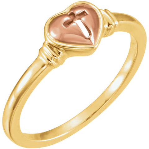10k Yellow Gold & Rose Heart & Cross Ring, Size 7