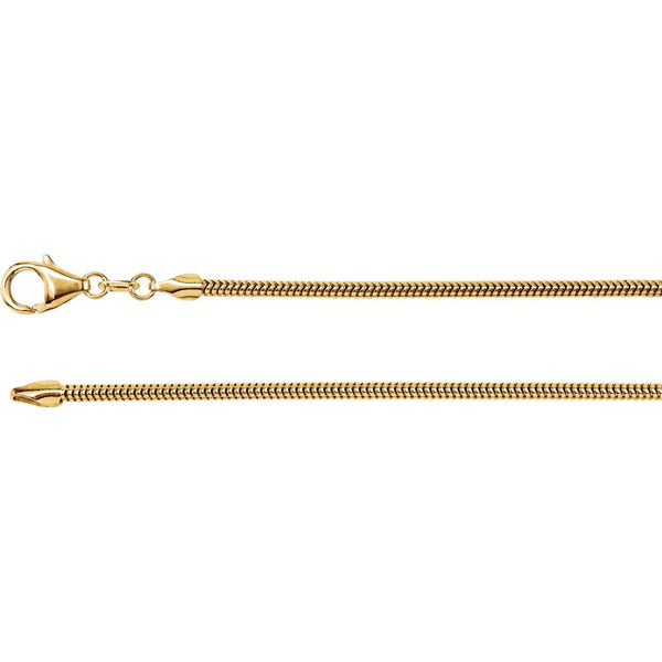 "14k Yellow Gold 2mm Solid Round Snake 16"" Chain"