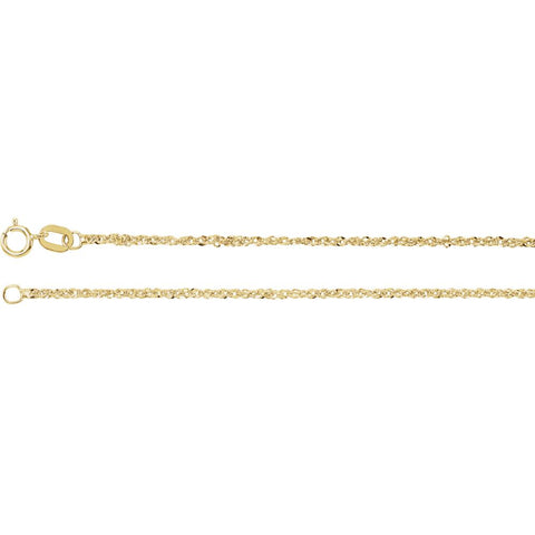 1.25 mm Sparkle Singapore Chain in 14k Yellow Gold ( 18-Inch )