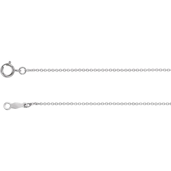 "18k White Gold 1mm Solid Cable 20"" Chain"