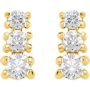 14k Yellow Gold 3/8 CTW Diamond 3 Stone Earrings