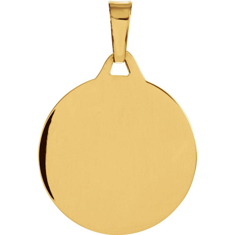 14k Yellow Gold 15mm Round Mazel Good Luck Medal