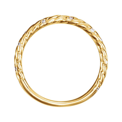 14k Yellow Gold .04 CTW Diamond Rope Band, Size 7