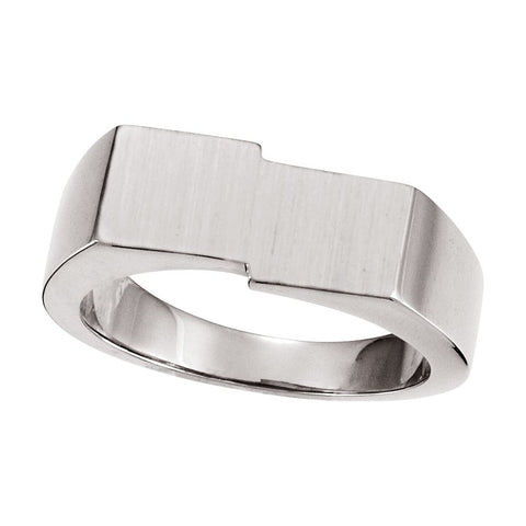 09.00X16.00 mm Men's Signet Ring with Brush Finished Top in 14k White Gold ( Size 10 )