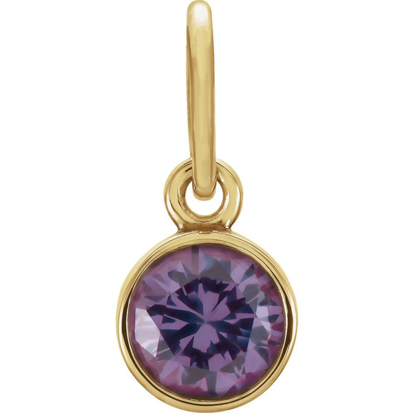 14k Yellow Gold Imitation Alexandrite Birthstone Charm