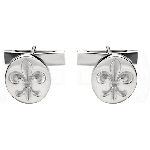 Metal Fashion Fleur De Lis Cufflink in 18K Yellow Gold