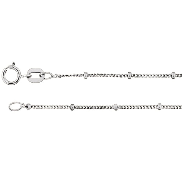 "14k White Gold 1mm Solid Beaded Curb 18"" Chain"