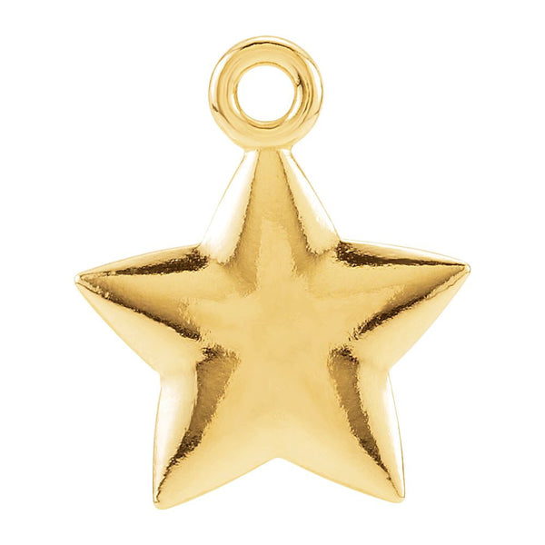 14k Yellow Gold 11.5x9.75mm Puffed Star Charm with Jump Ring