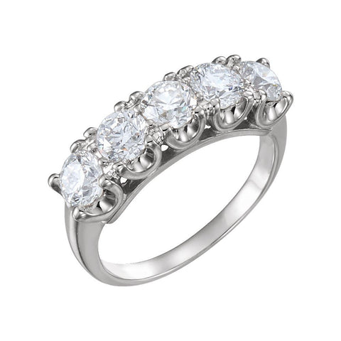 04.50 mm = 1 5/8 CTTW Created Moissanite Engagement Ring in 14k White Gold ( Size 6 )