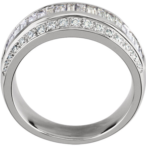 14k White Gold 1 CTW Diamond Anniversary Band, Size 6