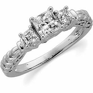 14k White Gold 1 1/8 CTW Diamond Engagement Ring, Size 7