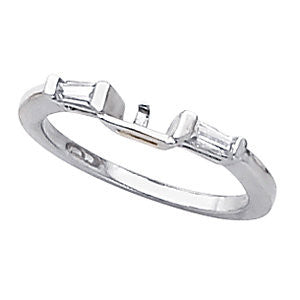Baguette Accented Wedding Band in 14k White Gold, Size 7
