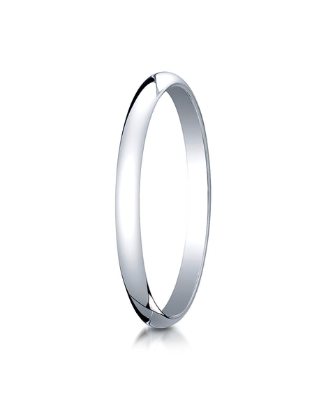 Benchmark 10K White Gold 2mm Slightly Domed Traditional Oval Wedding Band Ring (Sizes 4 - 15 )