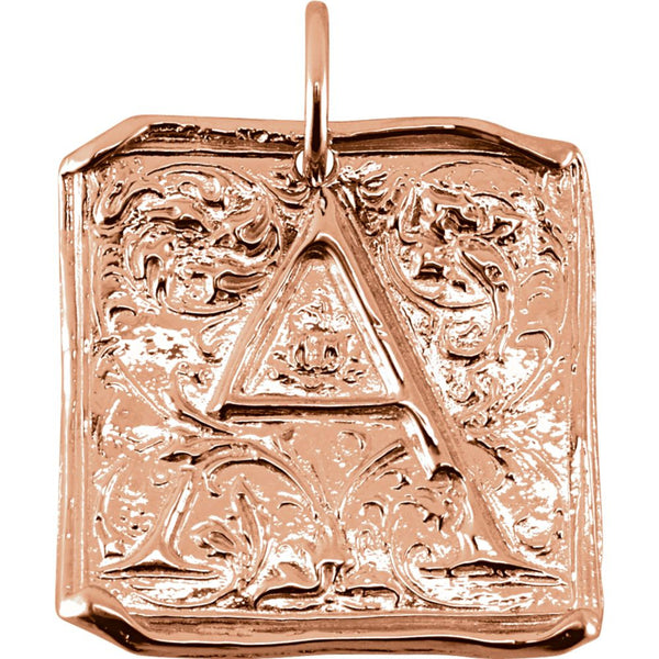 "14k Rose Gold Initial ""A"" Vintage-Style Pendant"