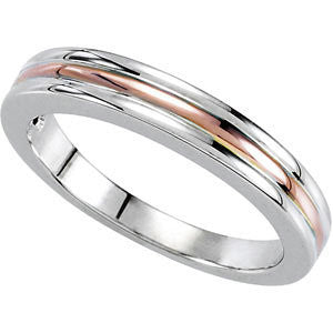 14K White & Rose Gold Band, Size 7
