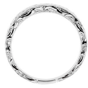 14k White Gold Hand Engraved Band Size 7