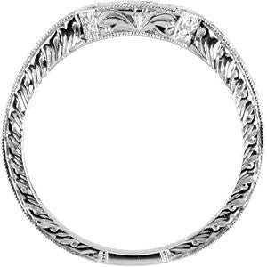 14k White Gold Hand-Engraved Band, Size 7