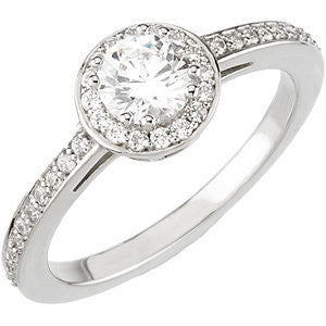 14k White Gold 3/4 CTW Diamond Engagement Ring, Size 7