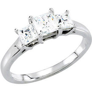14k White Gold 3.5x3.5mm Round 1/2 CTW Diamond 3-Stone Engagement Ring, Size 7