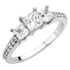 Three-Stone Engagement Ring in 14k White Gold, Size 7