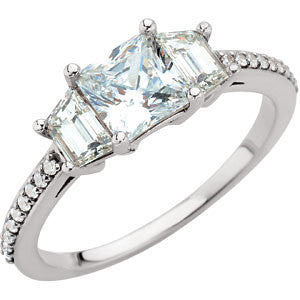 14k White Gold 1 5/8 CTW Diamond Engagement Ring, Size 7