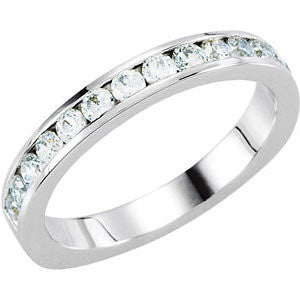 14k White Gold 1/2 CTW Diamond Band for 6.5mm Engagement, Size 7