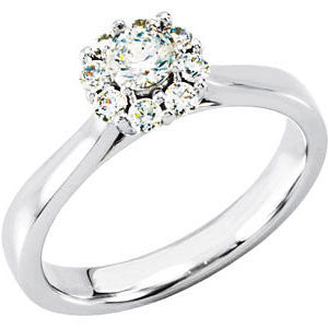 14k White Gold 1/2 CTW Diamond Halo-Style Cluster Engagement Ring, Size 7