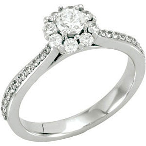 14K White Gold 1/2 CTW Diamond Halo-Styled Cluster Engagement Ring or Matching Band (Size 6)