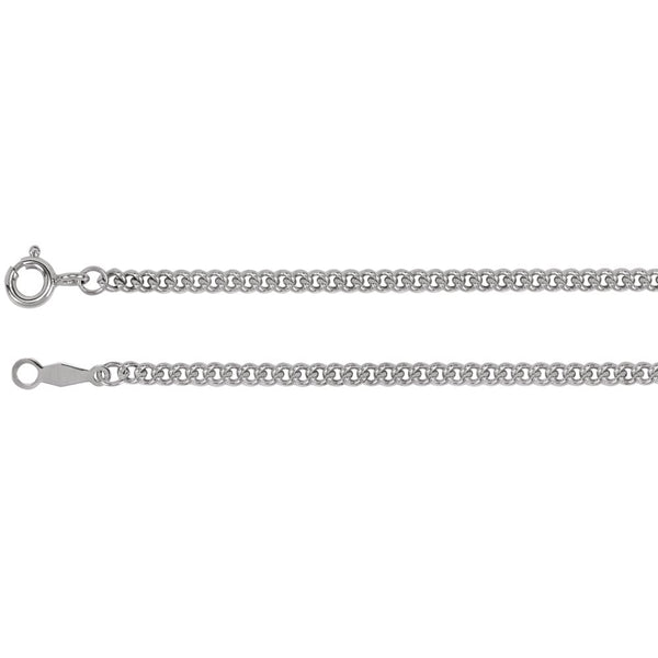 "Sterling Silver 2.25mm Solid Curb Link 24"" Chain"