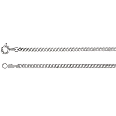 2.25 mm Solid, Curb Link Chain in Sterling Silver ( 24.00-Inch Carded )