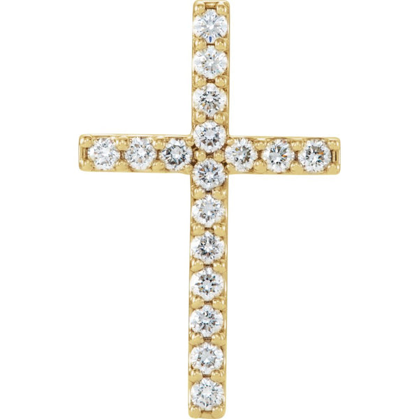 14k Yellow Gold 2.5mm Round 17-Stone Cross Pendant Mounting