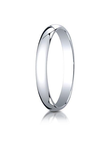 Benchmark 10K White Gold 3mm Slightly Domed Traditional Oval Wedding Band Ring (Sizes 4 - 15 )