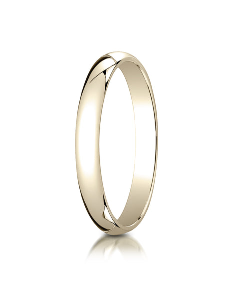 Benchmark 10K Yellow Gold 3mm Slightly Domed Traditional Oval Wedding Band Ring (Sizes 4 - 15 )