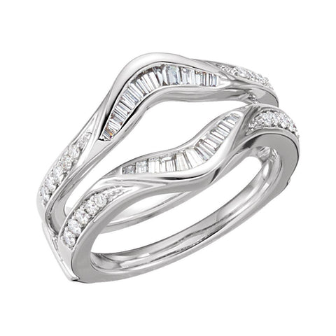 1/2 CTTW Diamond Ring Guard in 14k White Gold (Size 6 )